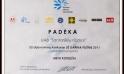 """2011 m. suteikta padėka už dalyvavimą konkurse """"Už darnią plėtrą"""" pristatant projektą."""