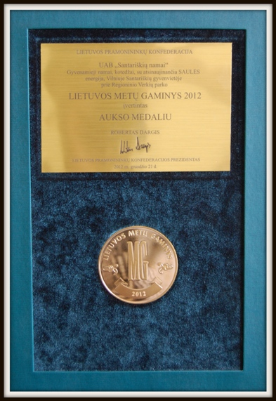 2012 m. Lietuvos metų gaminio aukso medalis. Lietuvos pramonininkų konfederacija.