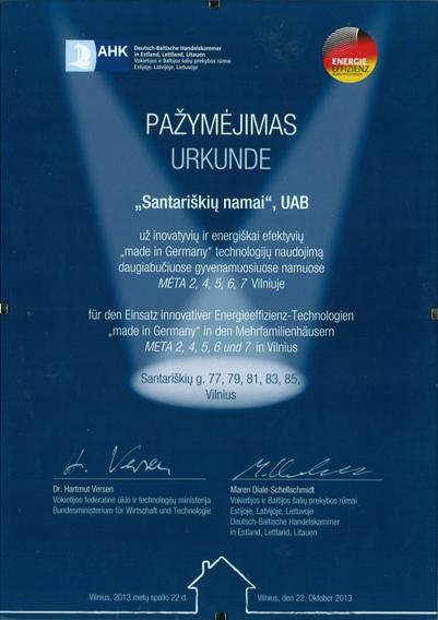 """Pažymėjimas už inovatyvių ir energiškai  efektyvių """"made in Germany"""" technologijų naudojimą."""